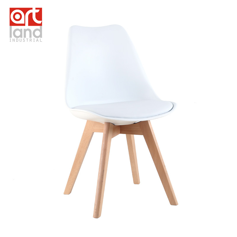 Upholstered plastic side chair with beech wood legs dining for Cheap side chairs