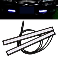 2Pcs LED Car Fog Lamp Bar DRL Daytime Running Light 17CM COB External Light Automobile Parking Turning Brake Signals Car Styling(China)