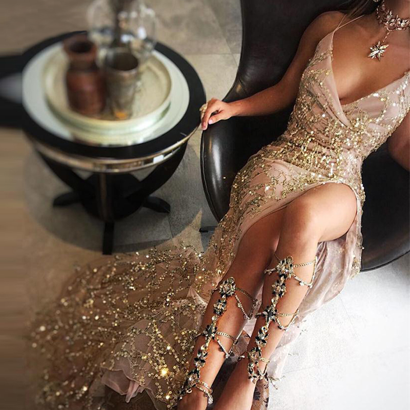 a65db2974 2017 Women Sexy Gold Sequined Long Split Dresses Elegant Ladies Night Club  Cocktail Party Dress Femme Maxi Vestidos De Festa - Pothead