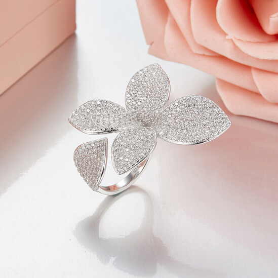 Luxury AAA Cubic Zirconia Micro Pave Open Rings Setting Flower Ring For Women Ladies Girls Rose Gold Color Finger Bague CR2034L