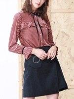 2017 Autumn Pink High Neck Velvet Tie Front Ruffle Detail Flare Long Sleeve Blouse