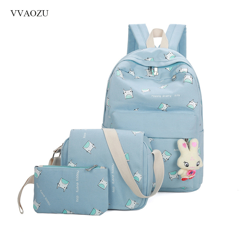 3 Pcs/set Women Cute Totoro Backpack Canvas Book School Bags for Teenage Girls Ladies Shoulder Travel Bags with Pendent vintage cute owl backpack women cartoon school bags for teenage girls canvas women backpack brands design travel bag mochila sac