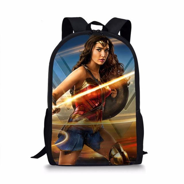 1502d1aa4fc7 Fashion Book Bag Backpack for Kids Cartoon Character Wonder Woman Backpacks  Boys Children Girls Schoolbag For Teenagers Mochila. 1 order