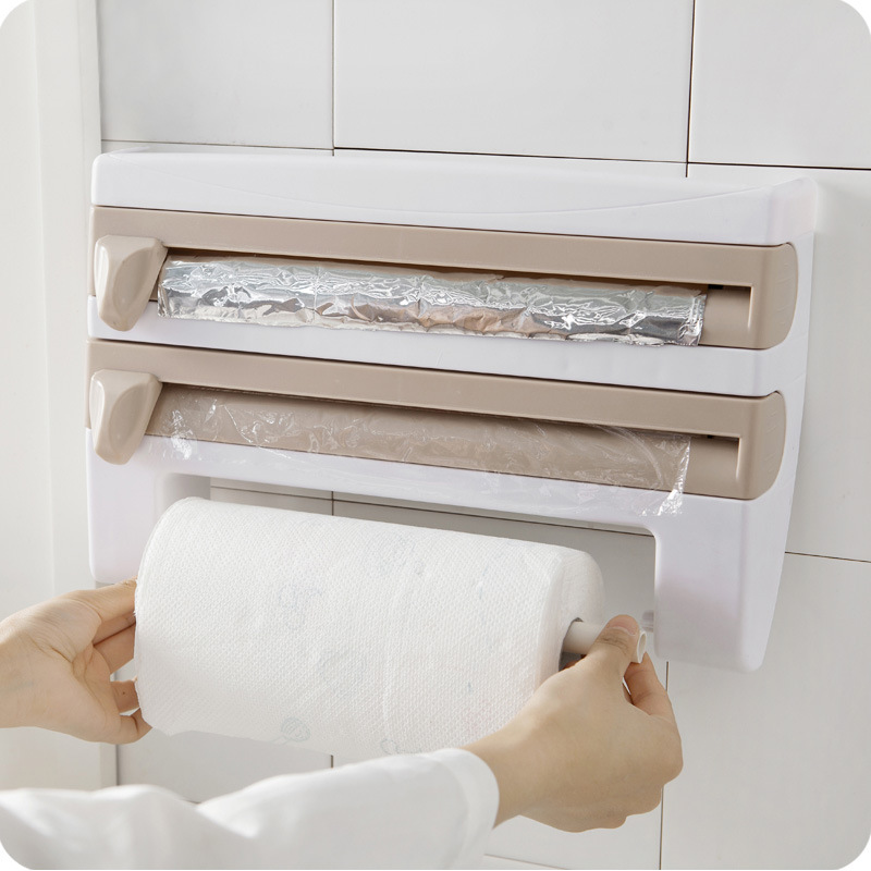 Quick Cling Film Cutter Plastic Food Wrap Dispenser Roll Paper Towel Storage Rack Kitchen Organizer Shelf Wall Hanging Holder