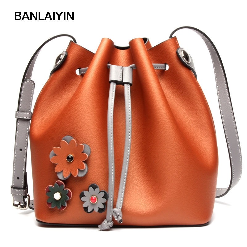New Winter Cow Split Leather Bucket Bags Women Handbags Pop Shoulder Bag Fashion Vintage Flower Crossbody Casual Messenger Bag viewinbox vintage shoulder bag split leather casual women messenger handbags retro box case bag