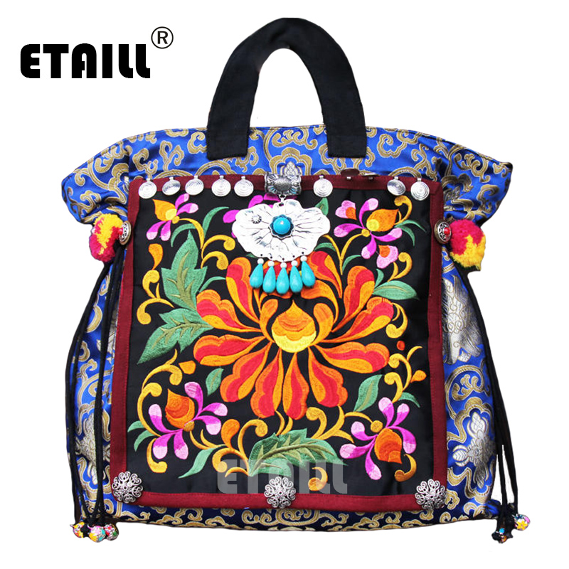 Hot Vintage Hmong Indian Thail Embroidery Bag Women Handmade Boho Hobo Embroidered Flower Brand Luxury Logo Bag Sac a Dos Femme yunnan hmong vintage ethnic embroidered boho indian floral embroidery thailand famous brand logo bag and handbag sac a dos femme