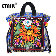 Hot Vintage Hmong Indian Thail Embroidery Bag Women Handmade Boho Hobo Embroidered Flower Brand Luxury Logo Sac a Dos Femme