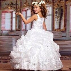 Новые блестящие нарядные платья для девочек-подростков; бальное платье с бисером и кружевной вышивкой; Детские вечерние платья для выпускн...