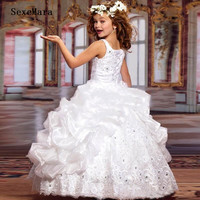 New Sparkly Girls Pageant Dresses for Teens Ball Gown Beads Lace Embroidery Kids Evening Prom Dresses Birthday Gown