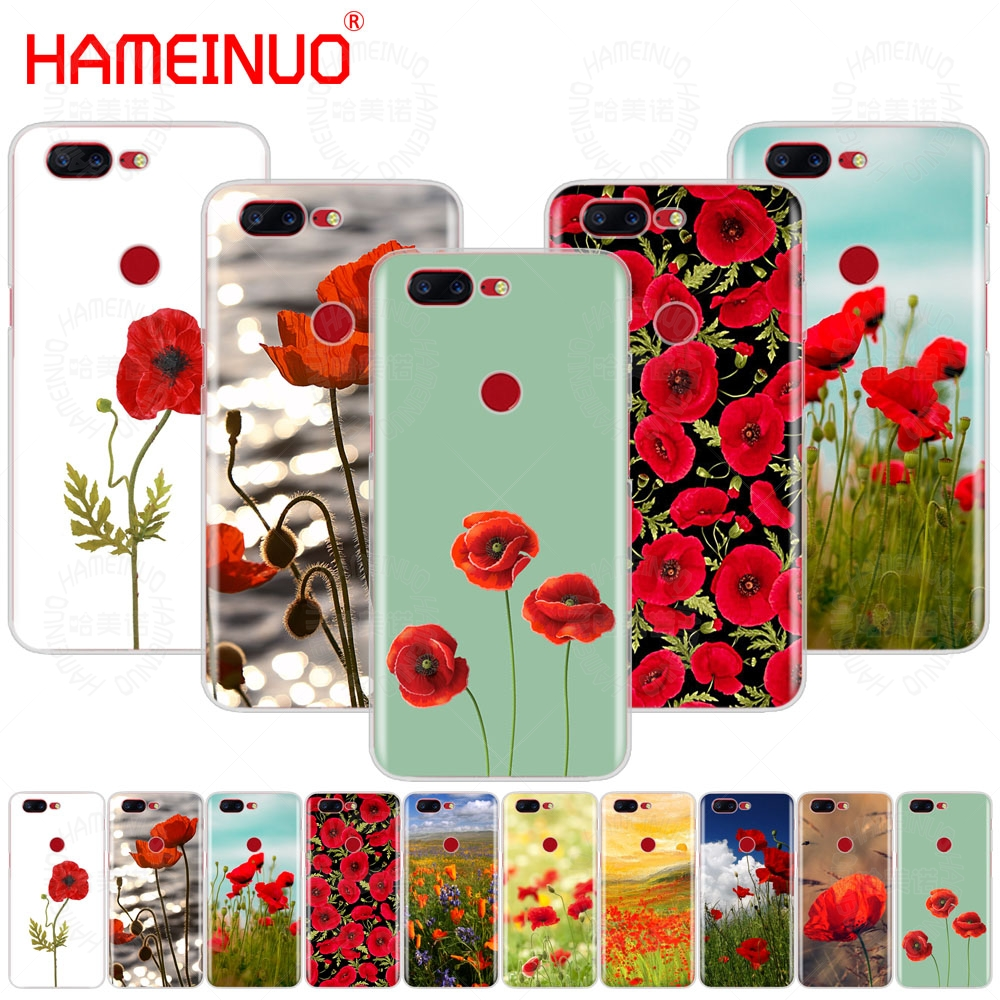 HAMEINUO Red Poppies On Black Style cover phone case for Oneplus one plus 5T 5 3 3t 2 X A3000 A5000