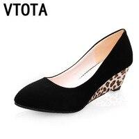 VTOTA High Heels Shoes Fashion Ladies Shoes Wedges High Heeled Shoes Woman Platform Black Leopard Pumps