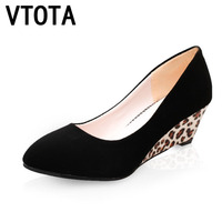 VTOTA High Heels Shoes Fashion Ladies Shoes Wedges High Heeled Shoes Woman Platform Black Leopard Pumps