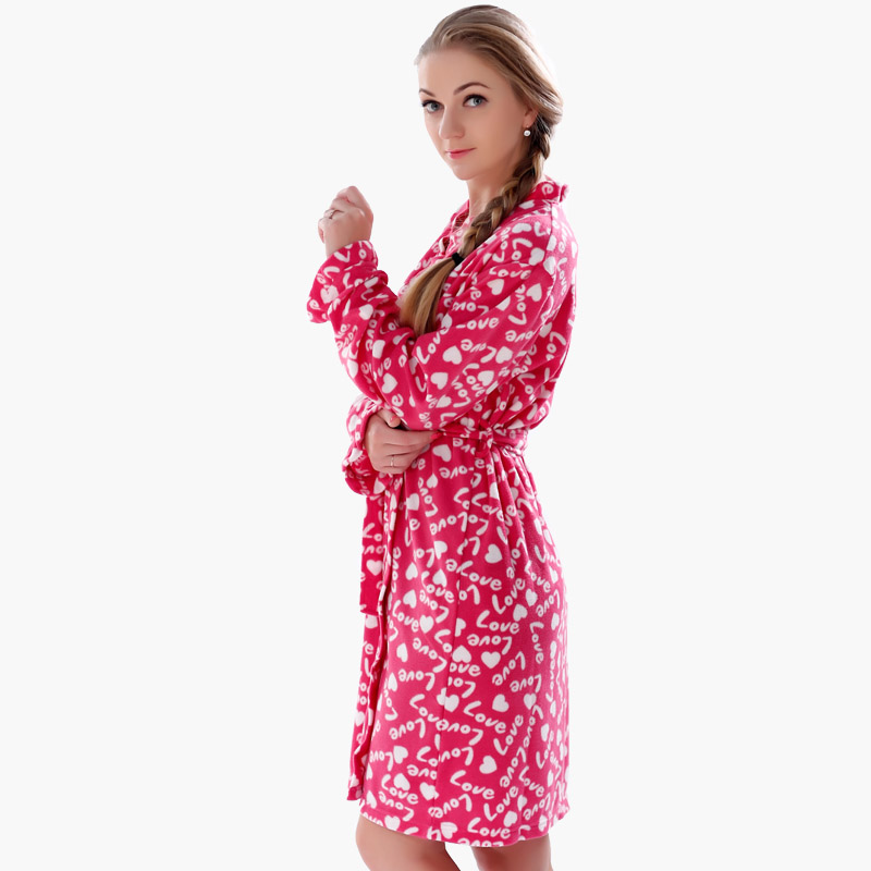 2016 Spring Autumn Ladies Plus Size Soft Fleece Red Robe Love ...