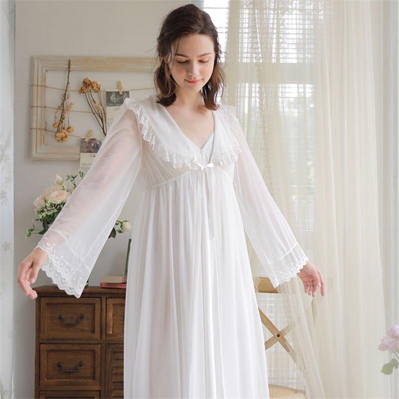 32de8a3de4 Princess Robe Gown Sets Vintage Two Pieces Sleepwear Women Peignoir Set  Transparent Lace Kimono Robe Night Chemise Dress T254-in Robes from  Underwear ...