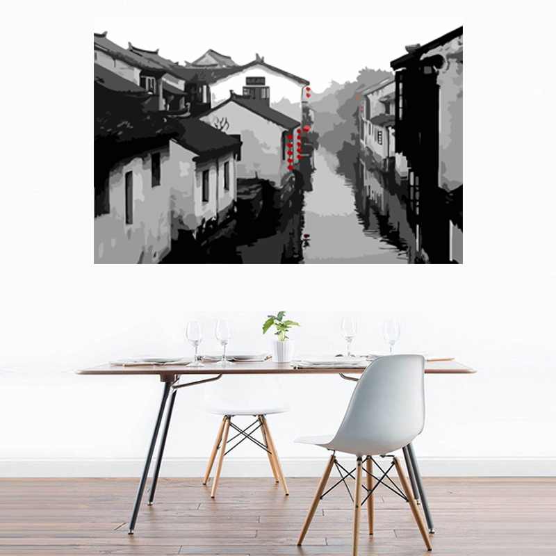 Traditional Chinese Architectures Squint Buildings River Cottages DIY Digital Oil Painting By Numbers For Home Decoration