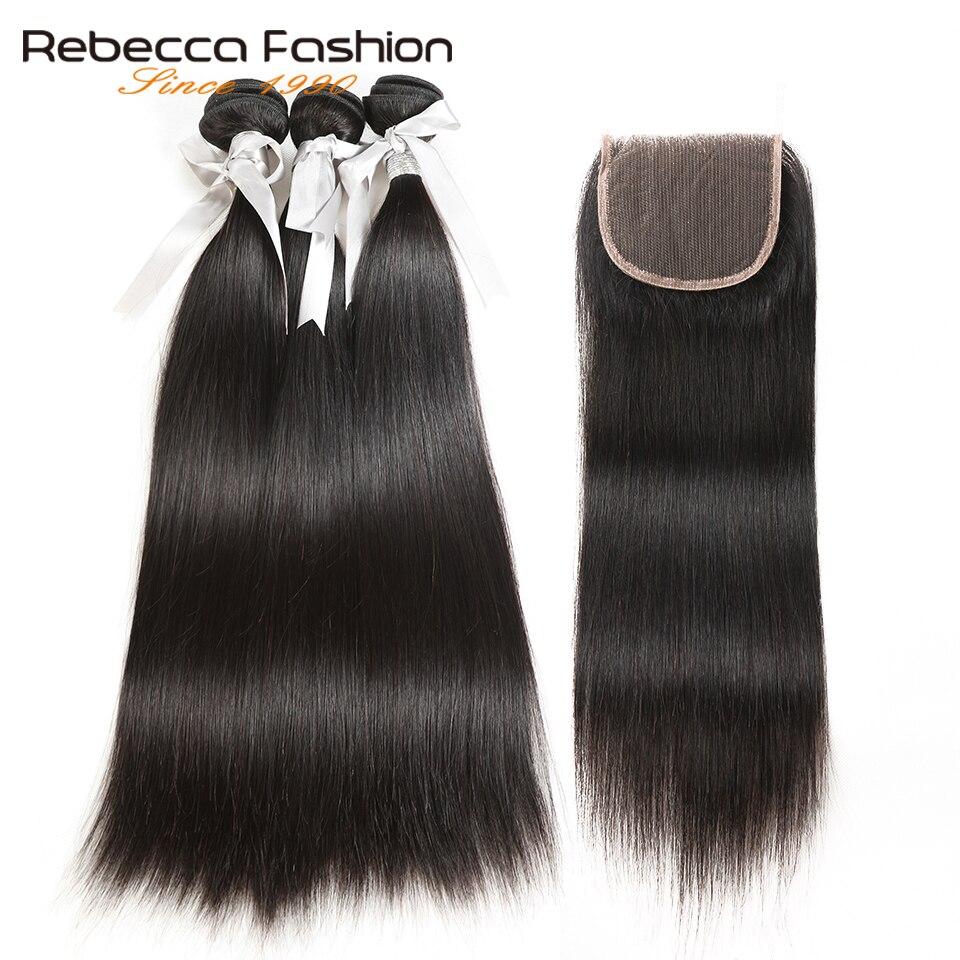 Rebecca Malaisienne Droite Cheveux 3 Bundles Avec Fermeture Non Remy de Cheveux Humains Weave Bundles Avec 4x4 Dentelle Fermeture livraison Gratuite