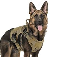 Tactical Dog Harness For Military Service Dog With Adjustable Handle Hunting Modular Cannie Molle K9 Dog Vest With Metal Buckle