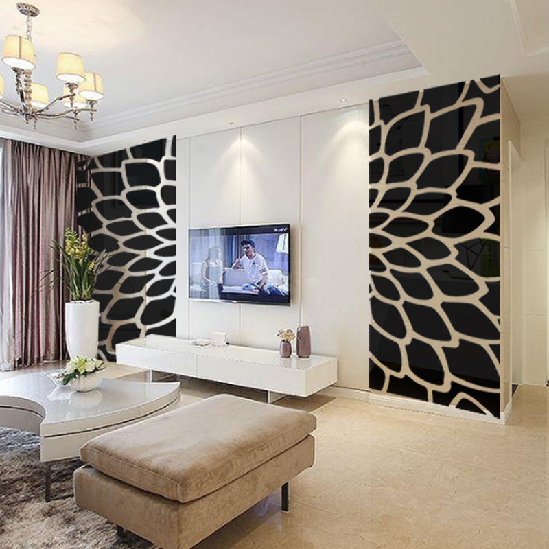 DIY planta árbol patrón redondo punto 3d pared pegatina decoración para el hogar espejo de pared grande dormitorio cama cabeza calcomanía pegatinas cartel de pared R101 - 3