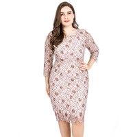 Three Quarter Empire Lace Dress Plus Size 6XL High Waist Elegant Summer Bodycon Dress Women Clothes 2019 Casaul Dress TA1805