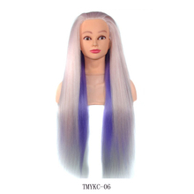 лучшая цена Eunice Colorful Professional Training Heads With Long Thick Hair Synthetic Hairdressing Mannequin Dolls Hair For Teaching