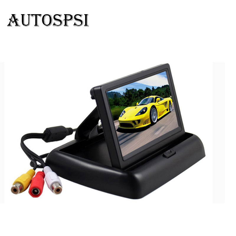 AUTOSPSI 4 3 inch HD dashboard Foldable Car Rear View Monitor Reversing Color LCD TFT Display
