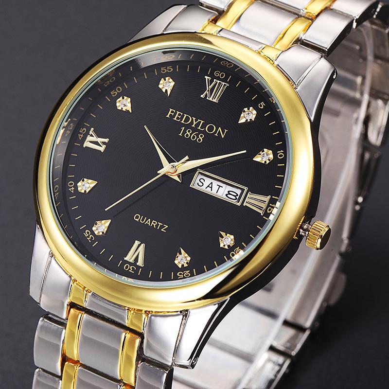 Prix pour Fedylon marque qualité or hommes femmes robe quartz montre relogio masculino hommes de montres de luxe montre-bracelet à quartz-montre