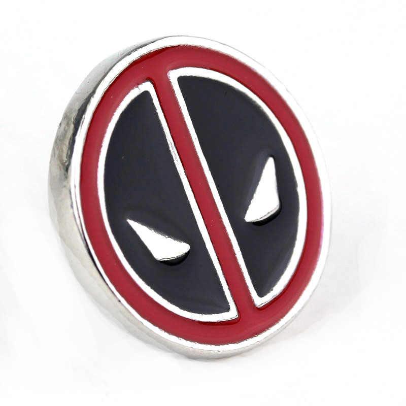 Dongsheng Deadpool Máscara Facial Mini Crachá Broche Preto Esmalte Vermelho Liga Moeda LOGOTIPO Deadpool T-Shirt Francês Cuff Links Pin-40