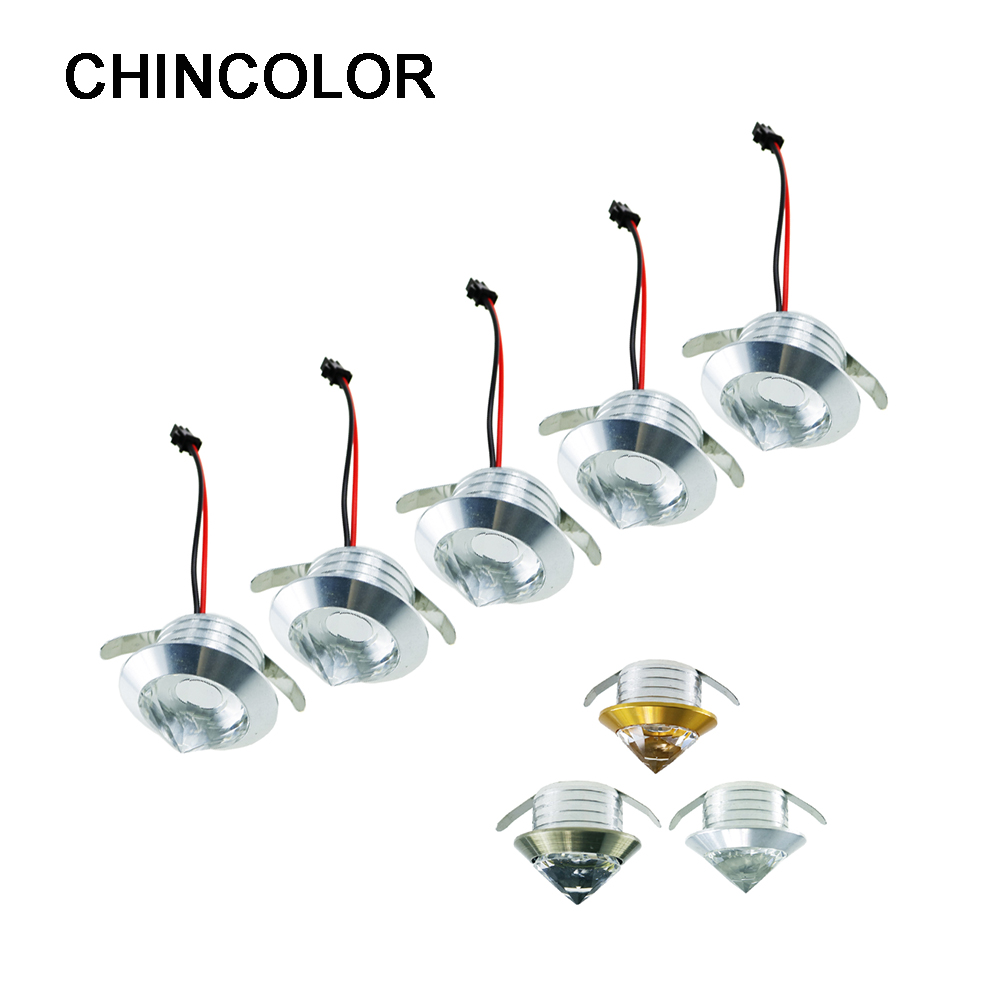 10pcs Mini Spot Light 1W 3W with Led Driver Crystal Cabinet Downlights Ceiling Lamp Aluminum Base Warm White Light Recessed IQ 5 x 1w led driver w gu10 connector base white