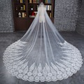 2017 new bride long veil luxury wedding veil 3 meters lengthened lace edge veil white tulle wedding accessories with comb TS10