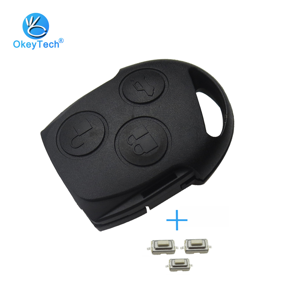 OkeyTech For Ford Focus 2 Fiesta Mondeo Mk3 Mk4 Ranger Transit Festiva Car Key Cover Fob 2 Button With 3 Micro Switch No Blade
