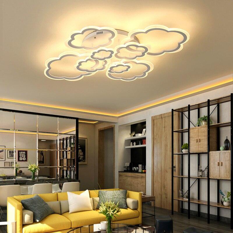 Işıklar ve Aydınlatma'ten Tavan Işıkları'de Dimmer için sanat bulutu ile led tavan ışık Akrilik lamba tavan yatak odası oturma odası gömme montaj ev dekorasyon armatür title=
