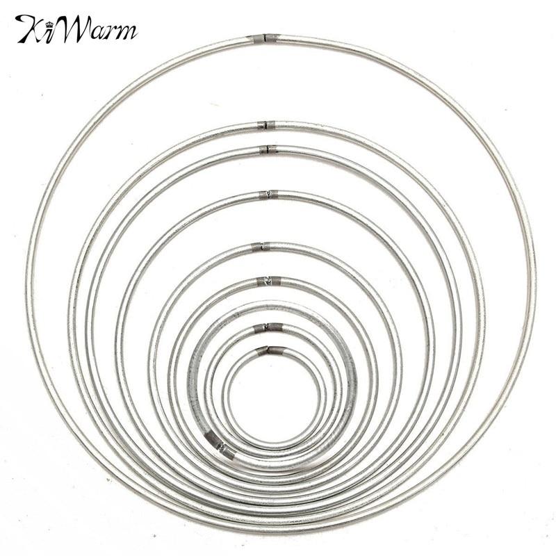 1pcs Multi Size Simple Round Silver Metallic Metal Hoop