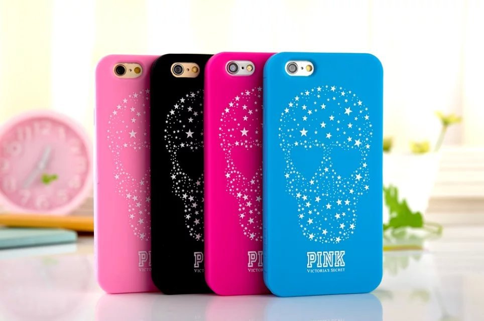 Love Victoria/'s Secret PINK Stars Skull Design Soft Rubber Cover Apple iphone 6 Plus 5.5'' Silicone Phone Protective Cases - Shen zhen HW (3C store Digital Accessories Company)