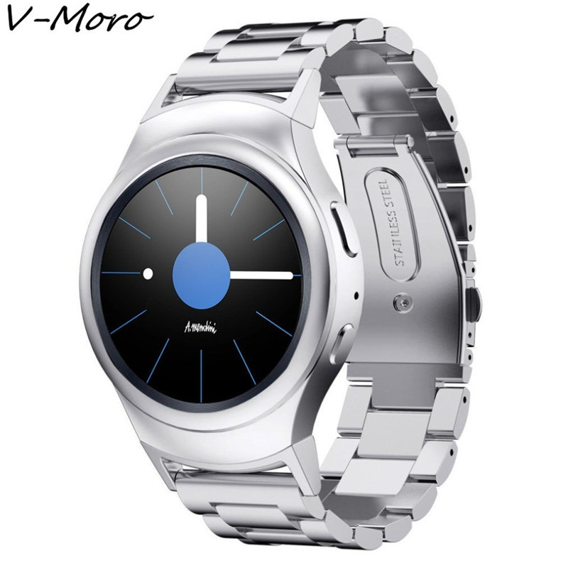V-Moro Solid Stainless Steel Metal Replacement Band With Adapters For Samsung Gear S2 Smart Watch (Metal Silver)