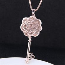 Charm Long Chain Necklaces & Pendants  For Women Fashion Key Flower Rhinestone Dress Accessories Wholesale