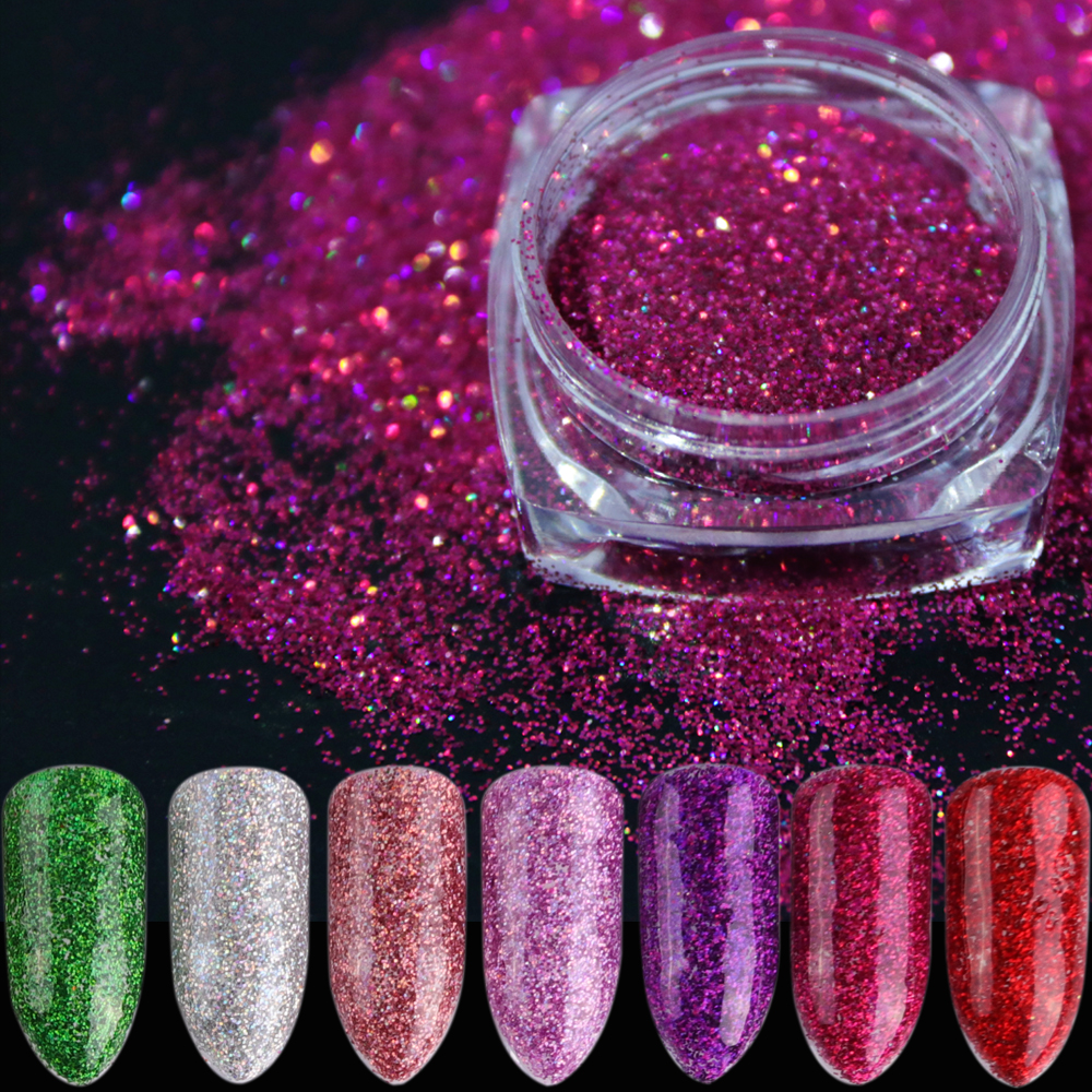 Extra Fine Holographic Chrome Nail Art Powder: 1pcs Laser Nail Art Glitter Powder Dust Sparkly Flakes