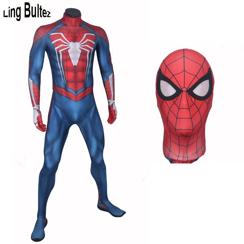 Ling Bultez High Quality PS4 INSOMNIAC SPIDERMAN Costume 3D Print Spandex Games Spiderman Spandex Suit PS4 Spiderman Costume