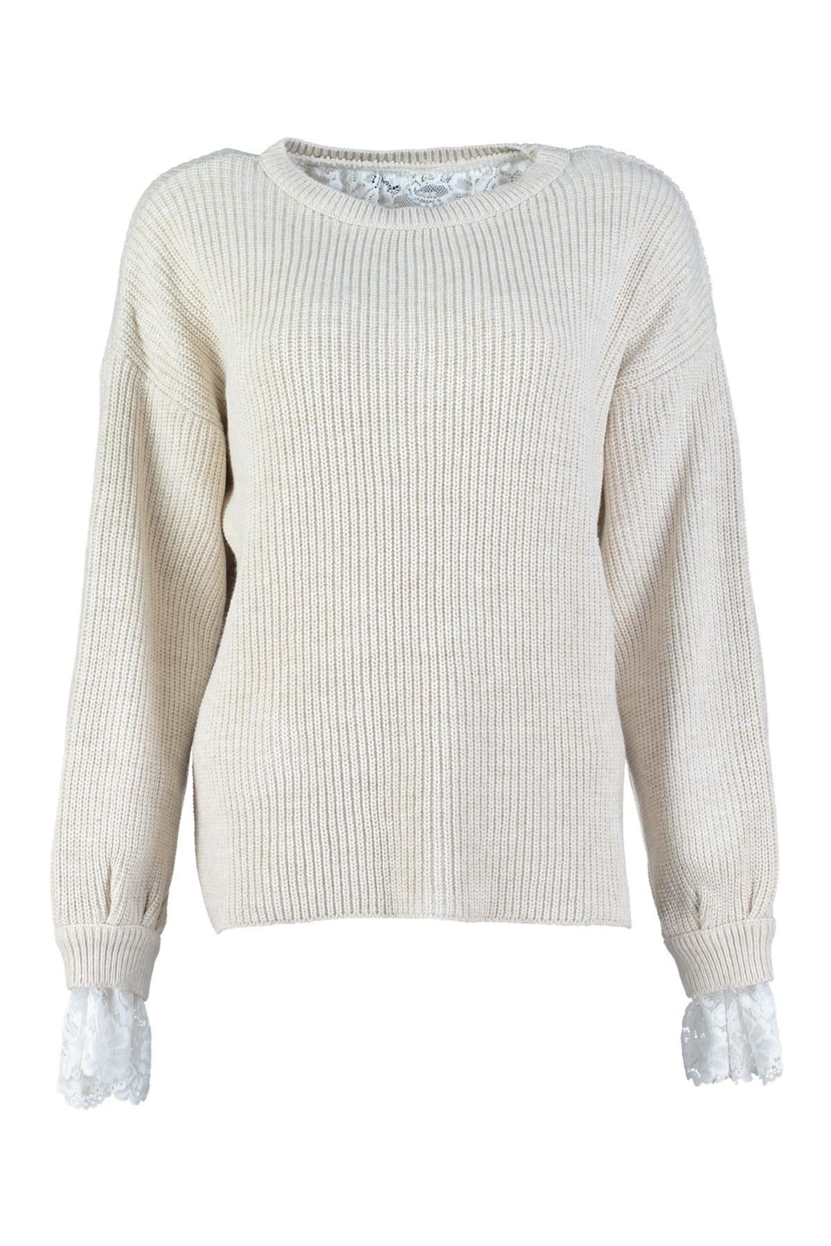 Trendyol WOMEN-Beige Crocheted Knitwear Sweater TWOAW20ZA0005