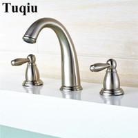 Widespread Basin Faucets nickel Deck Mounted Bathroom Sink Faucets 3 Hole Double Handle Hot & Cold Water Tap La cuenca del grifo