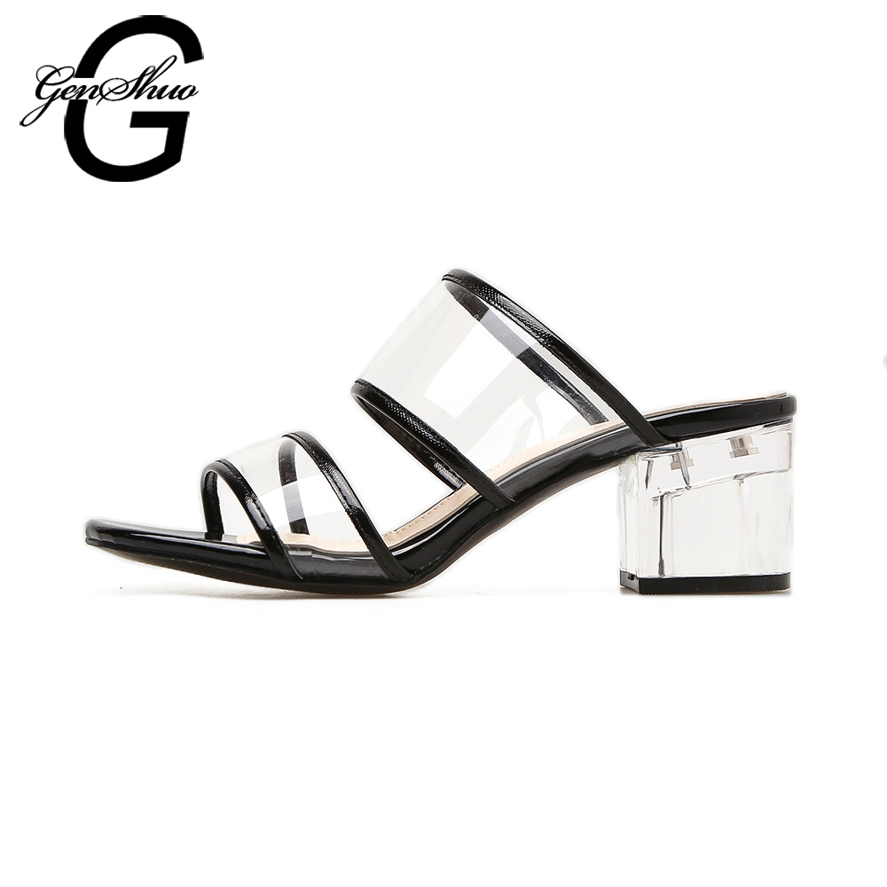 3796227ee25 GENSHUO Sexy Crystal Transparent Shoes Women Sandals High heels Black Nude  Open Toe Chunky Heels Shoes