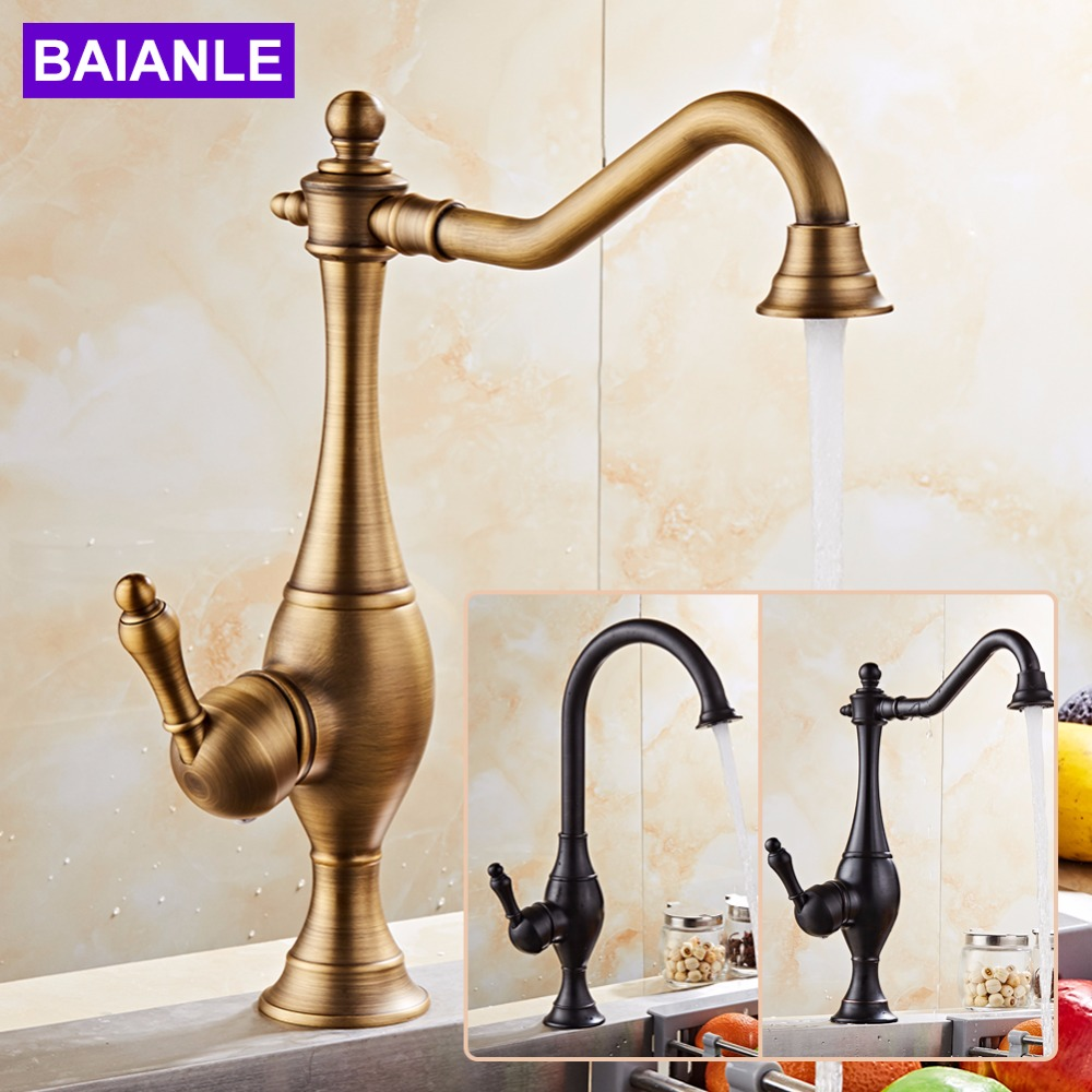 Free shipping Classic Kitchen faucet Contemporary Swivel Faucet Antique bronze finish Brass Basin Sink Single Handle taps antique brass swivel spout dual cross handles kitchen