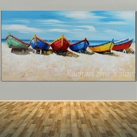 Large Size Hand Painted Abstract Boat Sea Beach Oil Painting On Canvas Abstract Seascape Wall Art