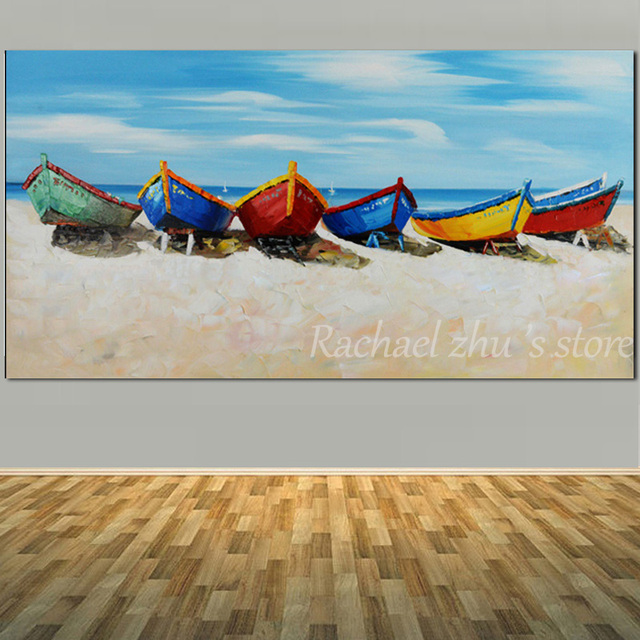 Large Size Hand Painted Abstract Boat Sea Beach Oil Painting On Canvas Seascape Wall Art