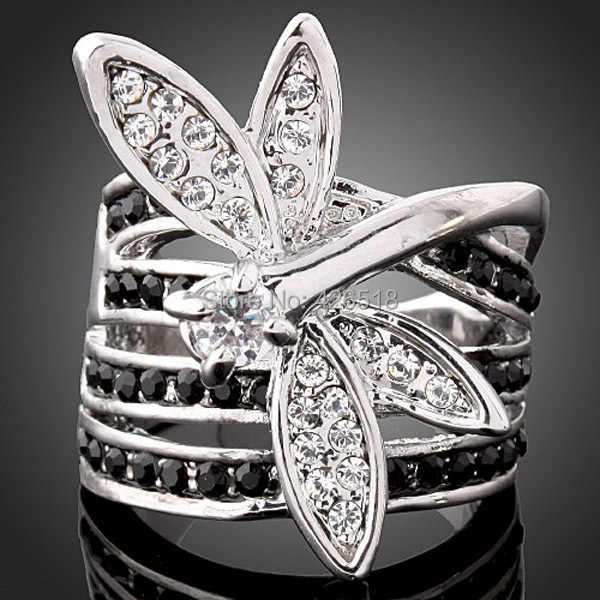 New 2019 High Quality Cubic Zirconia Rhinestone Jewelry Dragonfly Rings For Women Free Shipping
