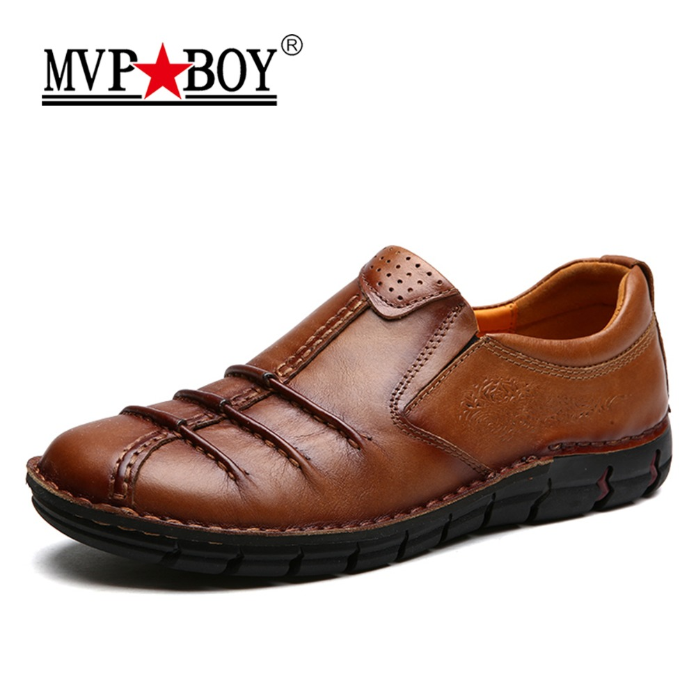 MVP BOY Brand Man Genuine Leather Shoes Fashion Slip On High Quality Men Shoes Loafers Comfortable Casual Genuine Leather Shoes