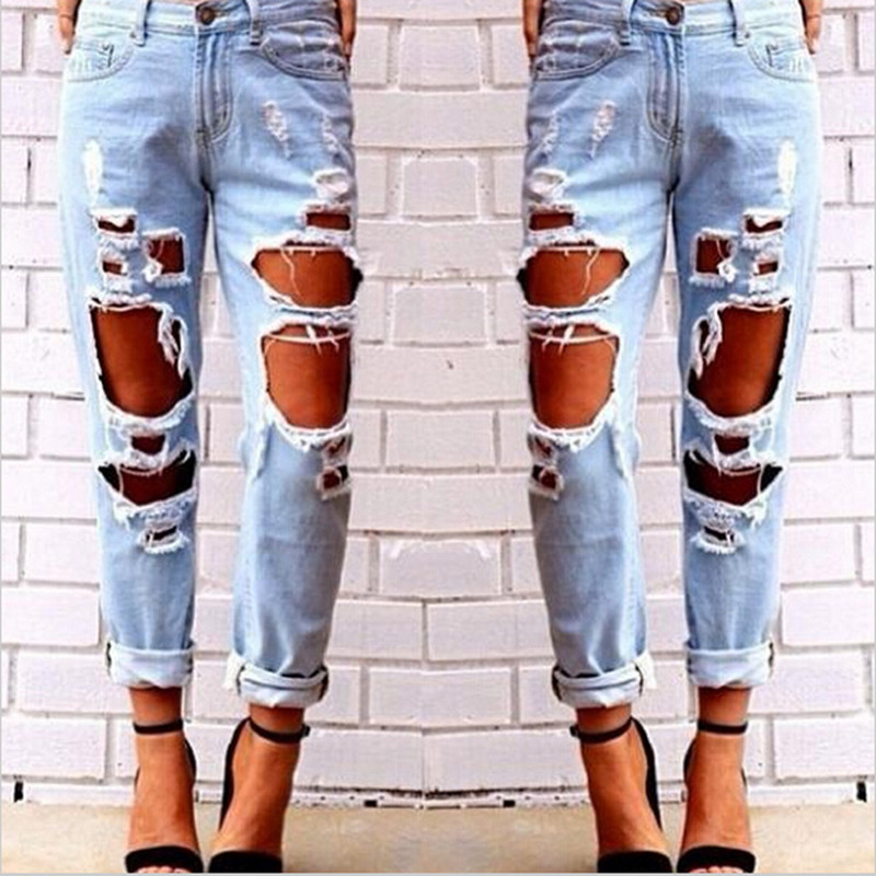 Online Buy Wholesale loose ripped jeans for ladies from China