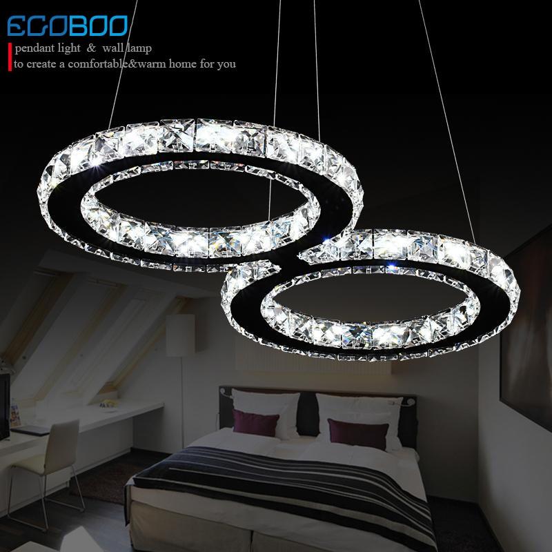 NEW MODREN LED Crystal Pendant Lights 24W Creative Restaurant Cord Pendant Lighting Fixture Modern Style Cool White 110-240V AC
