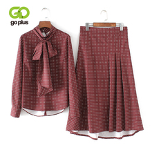 GOPLUS 2 Piece Set Women Casual Red Polka Dot Full Sleeve Front Bow Tshirt Ankle-length Skirt Conjuntos De Mujer C8085
