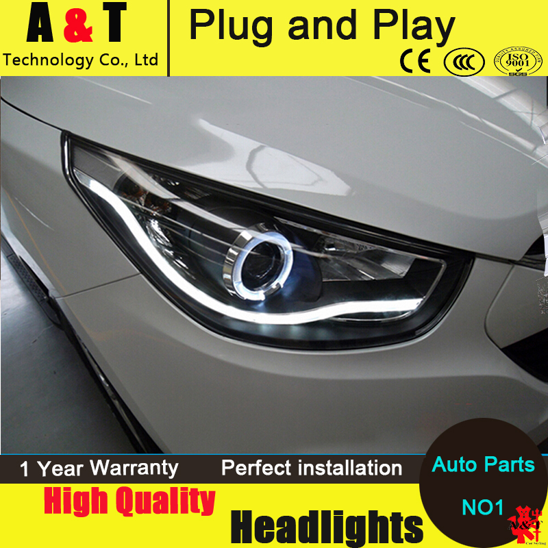 Car Styling LED Head Lamp for Hyundai IX35 led headlight assembly 2010-2014 Tuscon headlights drl H7 with hid kit 2pcs. car styling head lamp for bmw e84 x1 led headlight assembly 2009 2014 e84 led drl h7 with hid kit 2 pcs