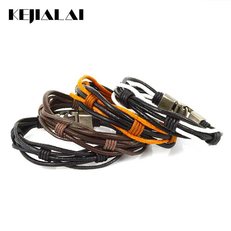 Kejialai Vintage Style Punk Jewelry Leather Wrap Bracelets Men Women Black White Brown Braided Rope Bracelet Charms Fashion Gift